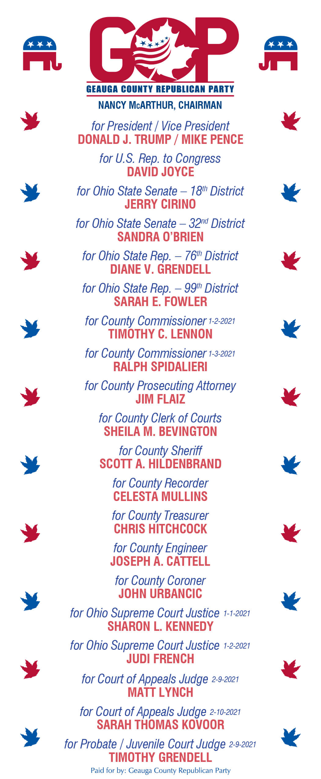 Geauga County GOP Slate Card for November 2020 election